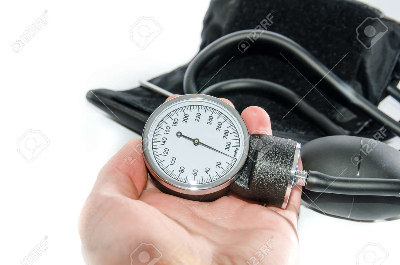 Blood pressure medical equipment isolated on white - 159480221