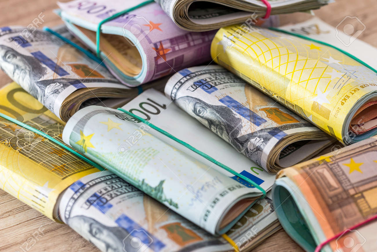 finance concept - many dollar and euro. - 159657460