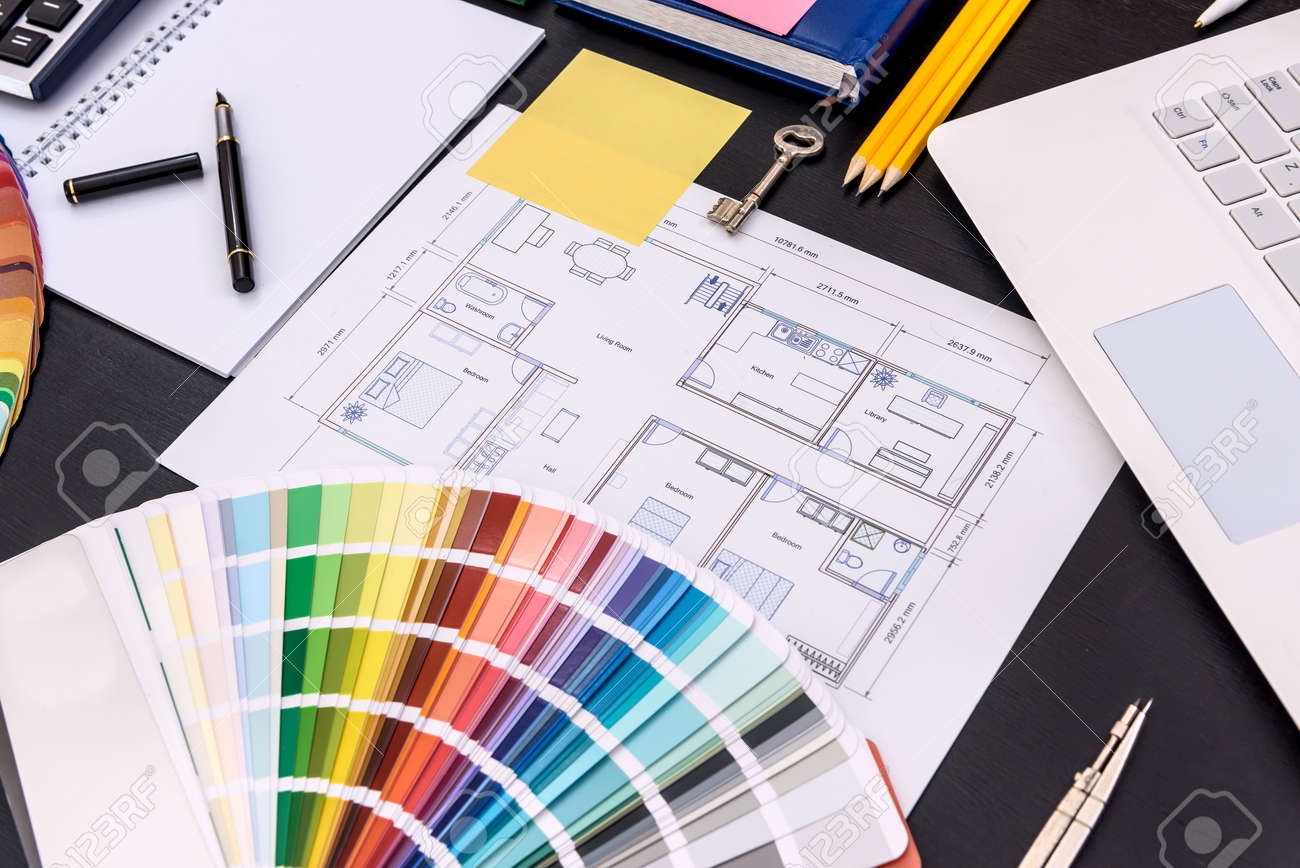 Color swatch with architectural drawing on table - 166735845