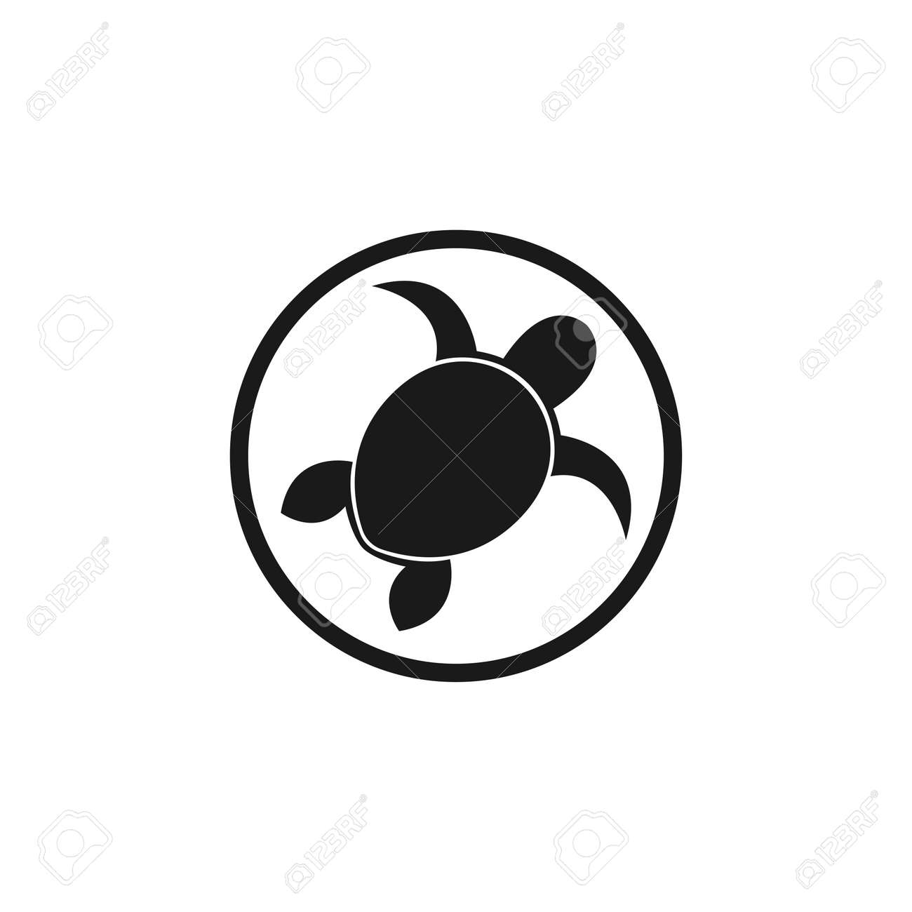 Sea Turtle Logo Template Icon Design Elements Black And White