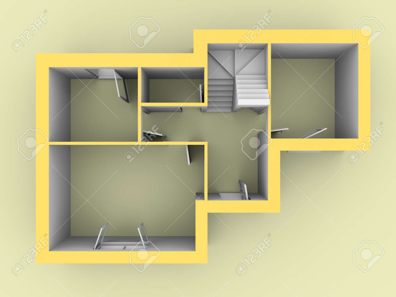 3d Model Of A House As Seen From Top View Doors And Windows Are Open