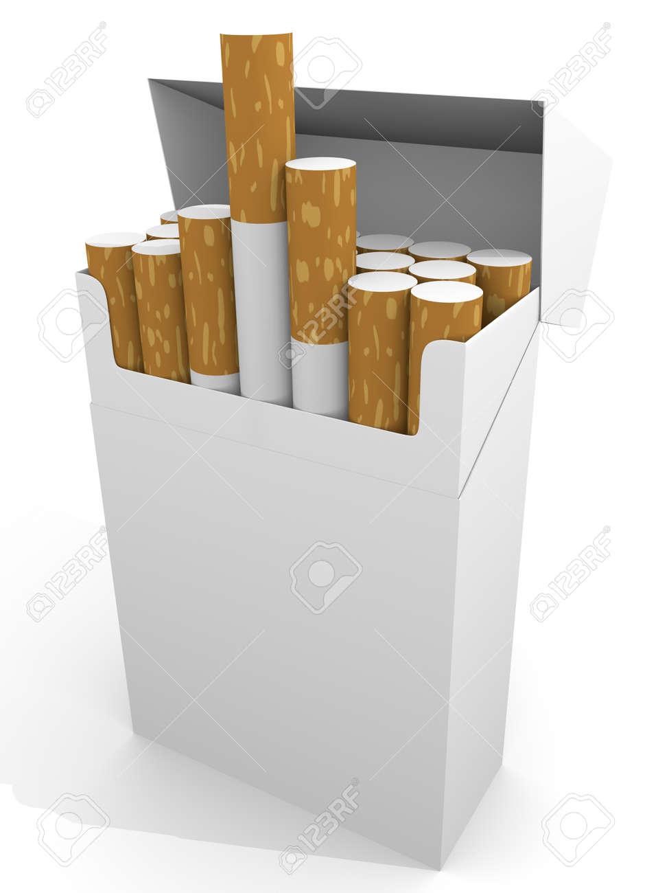 Open full pack of cigarettes in white. Stock Photo - 11850067