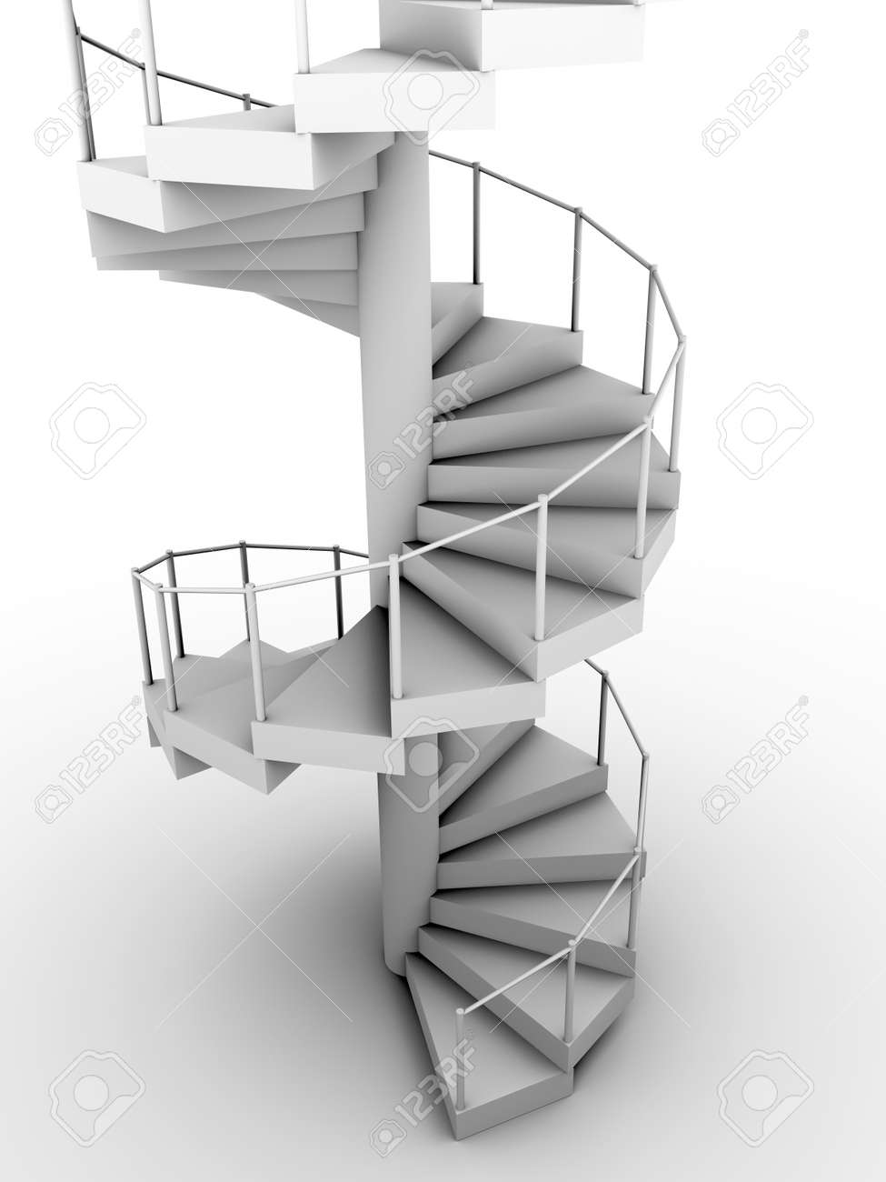 Snail Staircase In White. Circular Construction. 3d Render Stock Photo    12390601