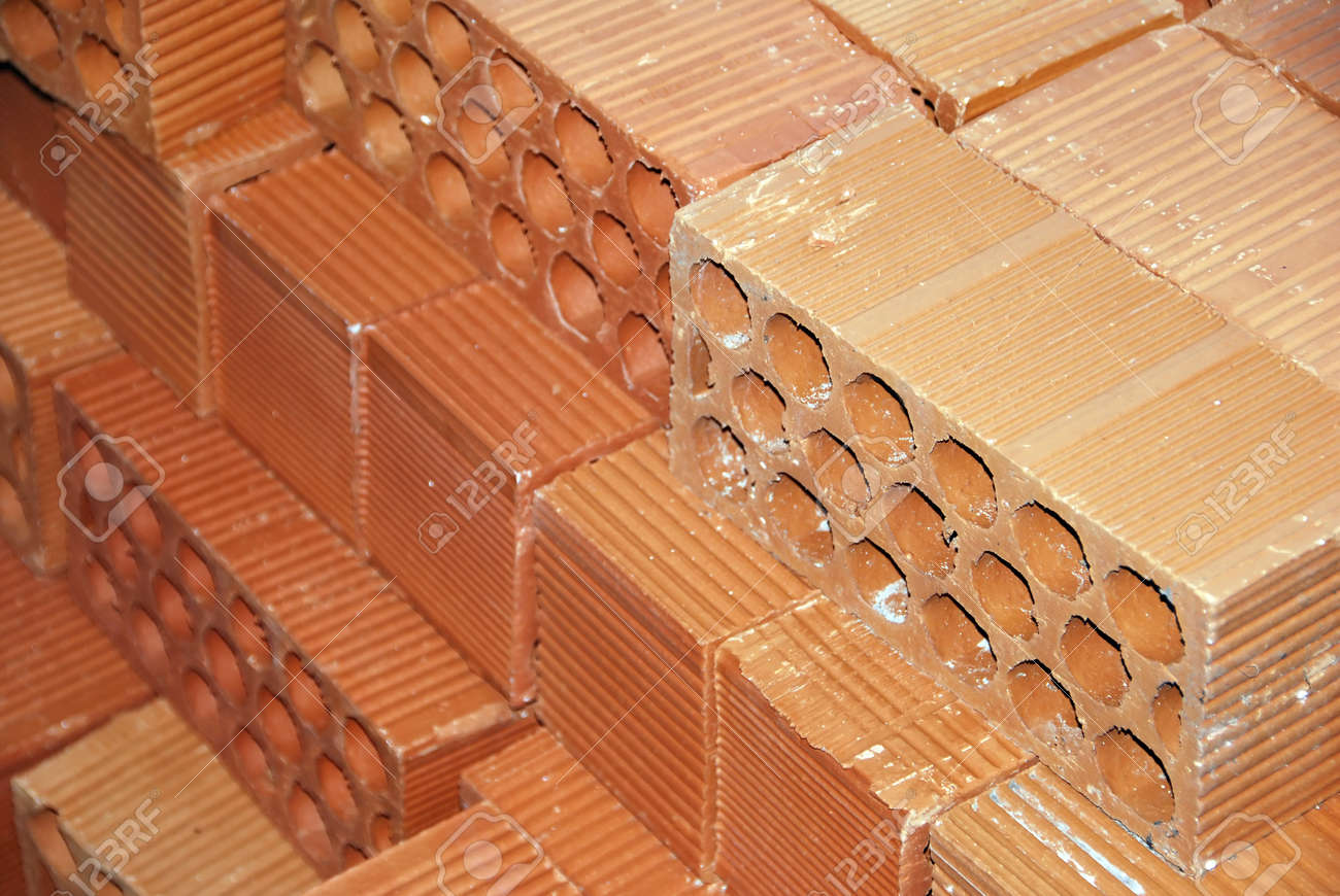 Clay bricks stacked ready for work with them Stock Photo - 12700753