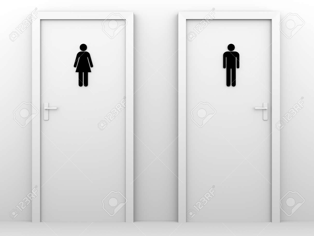 Stock photo toilet doors for male and female genders