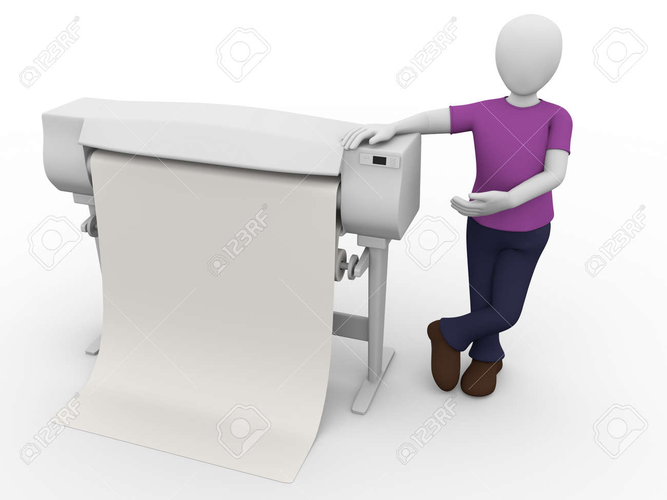 A worker with a plotter. Large printer for graphic arts - 12946343