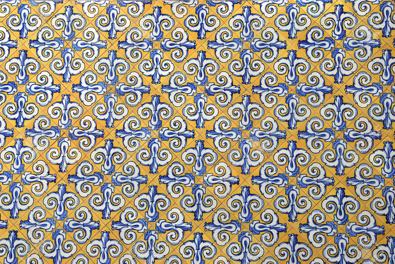 Traditional Spanish Ceramic Tiles In Yellow, White And Blue Stock ...