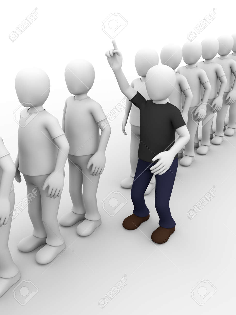 a man in a queue is raising his hand to ask something Stock Photo - 13607528