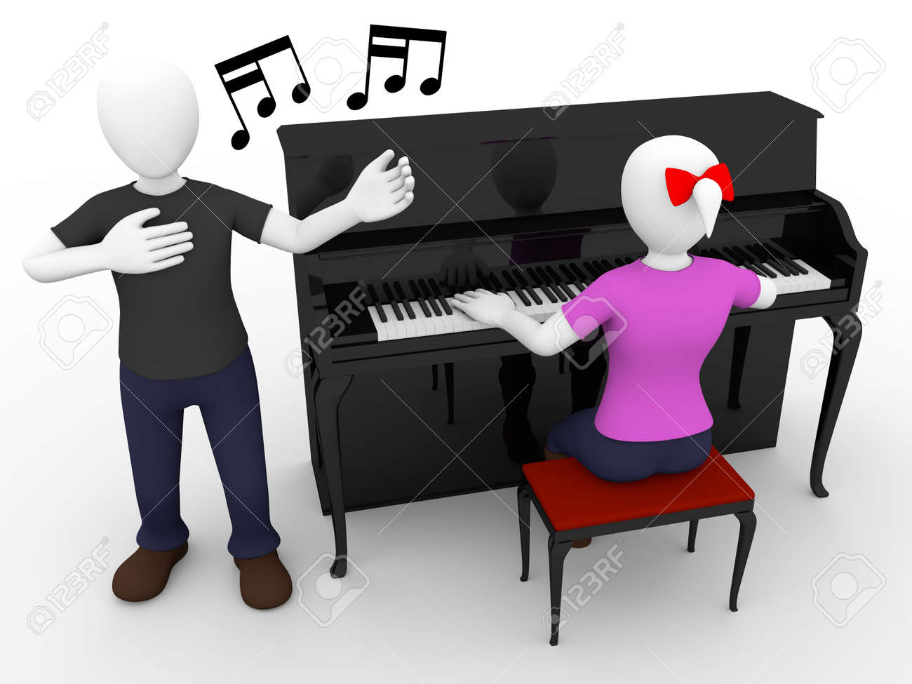 A singer sings a song with a pianist woman Stock Photo - 14589699