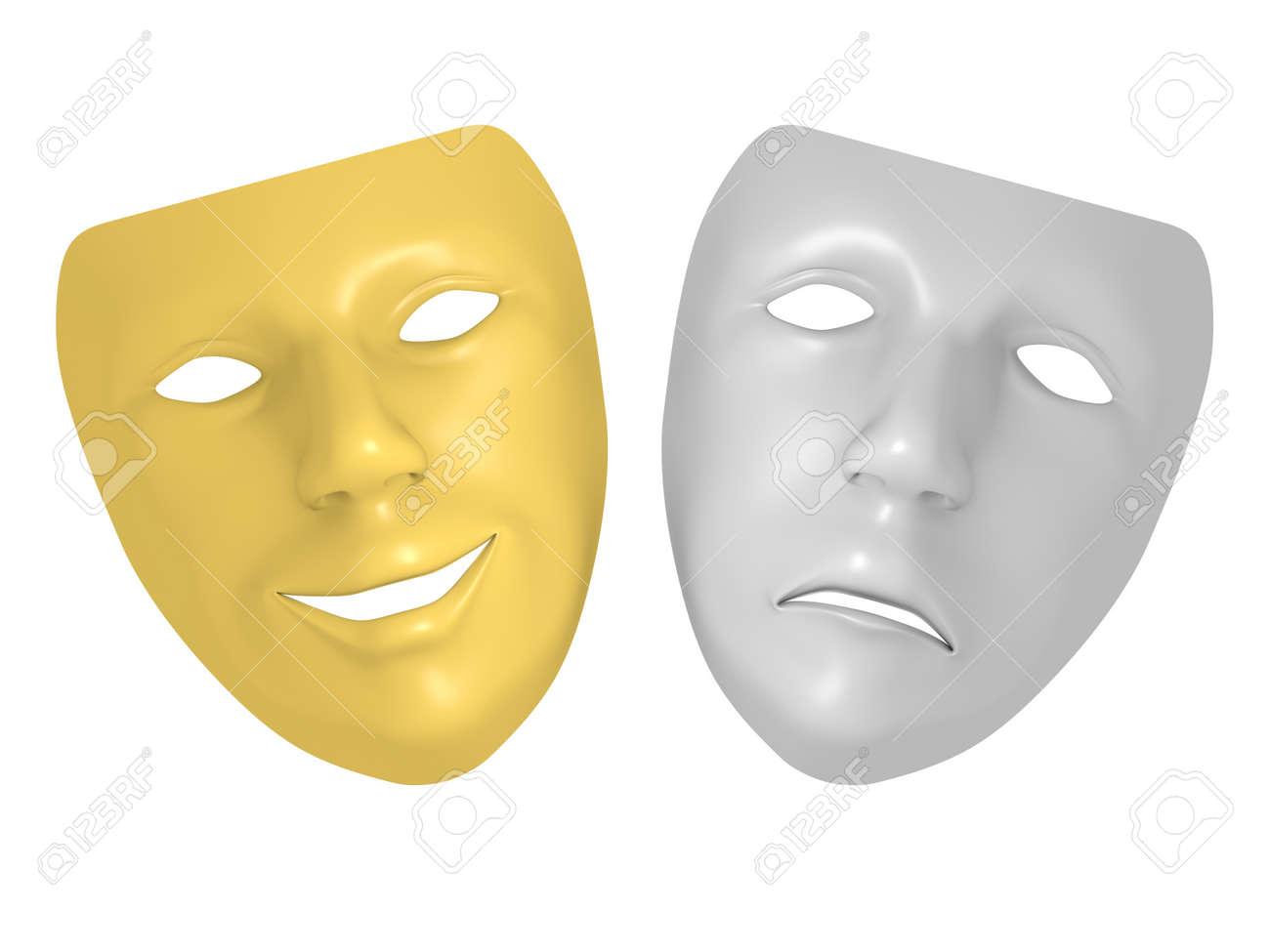 Tragédie Et Comédie Masque Lexpression Triste Et Sourire Symboles