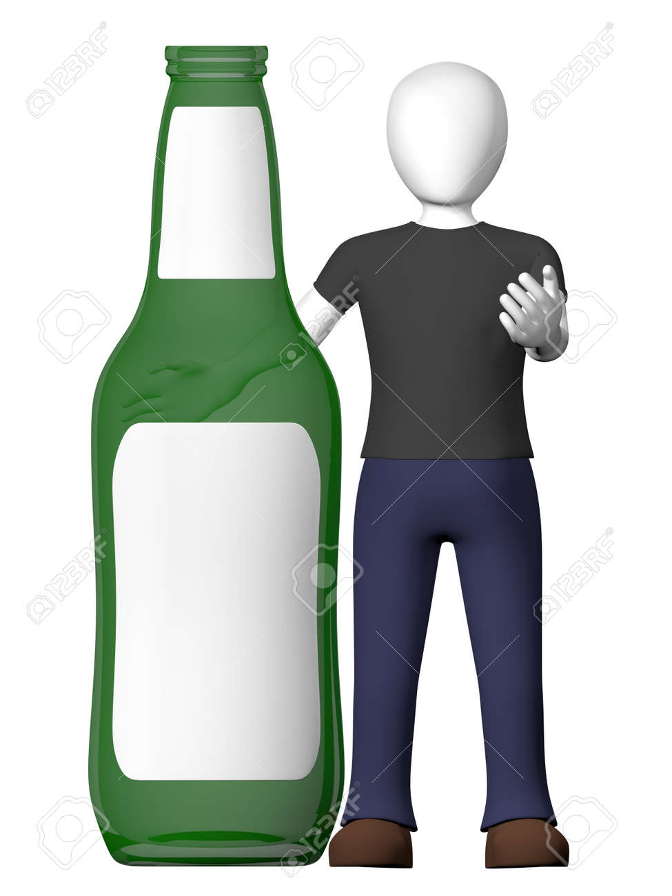 A man with a bottle of beer in green. Label is empty Stock Photo - 16509746