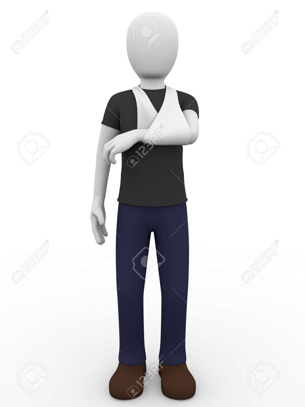 a man with one arm in a sling Stock Photo - 16999701