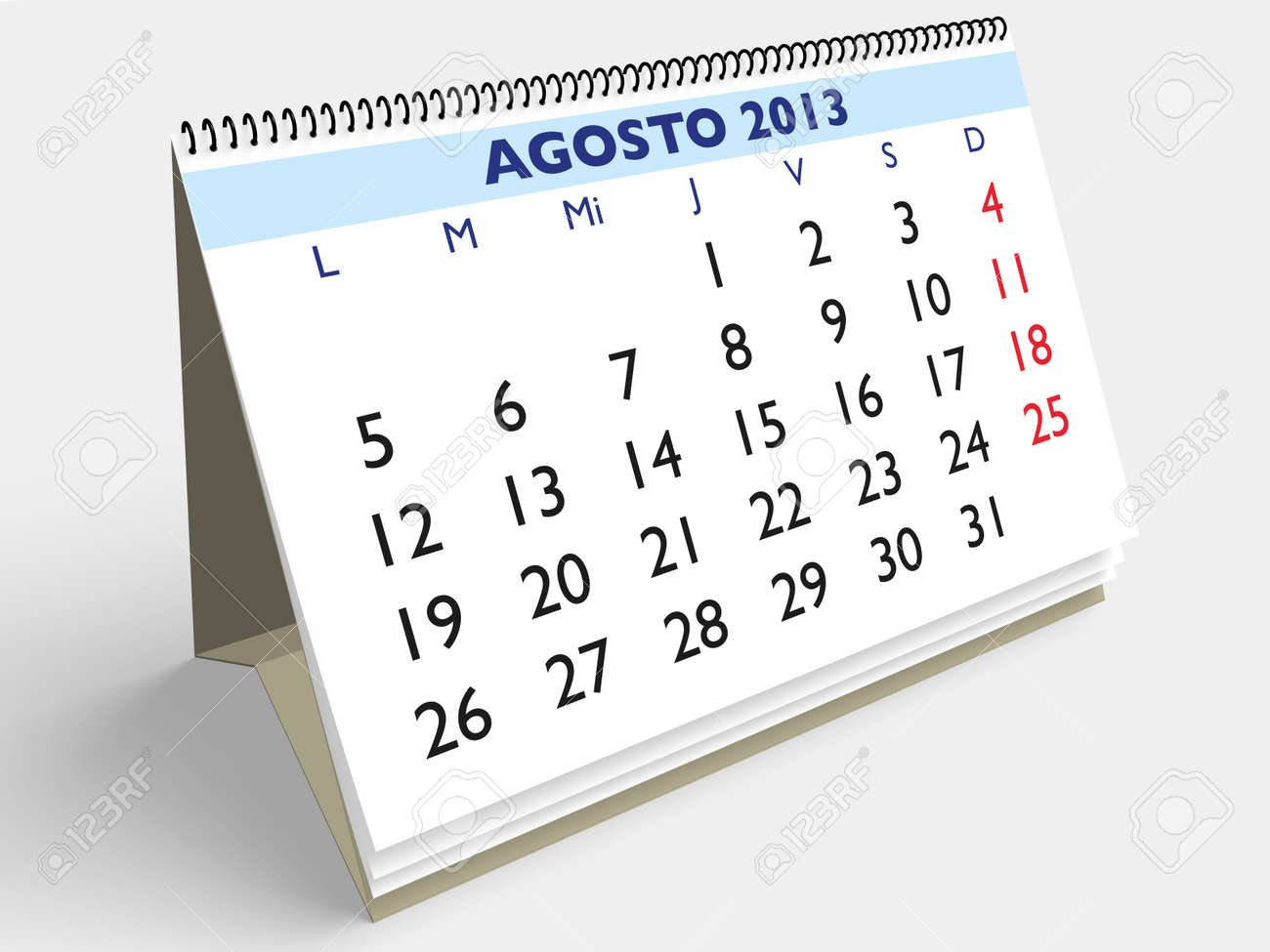 August month in an Spanish calendar. Year 2013. 3d render Stock Photo - 17280160