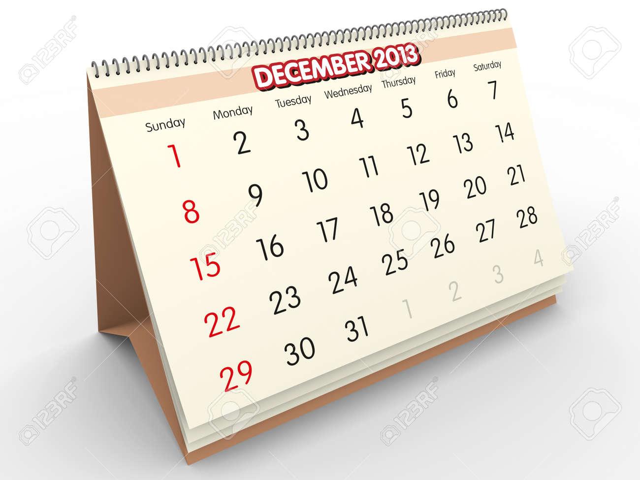 December sheet in a Calendar for 2013  3d render Stock Photo - 17280197
