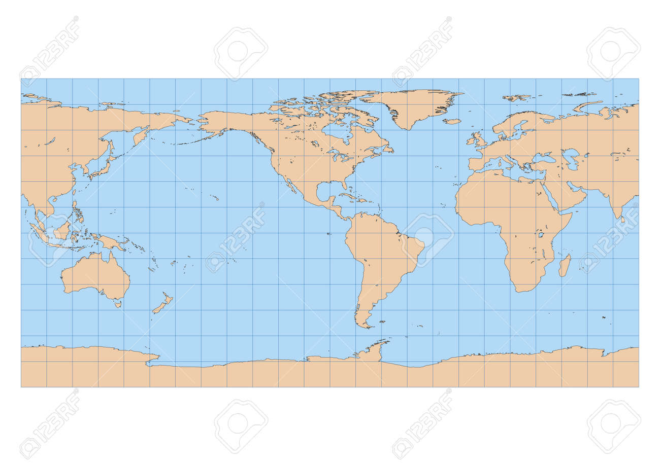 Very high detailed map of the world in equirectangular projection very high detailed map of the world in equirectangular projection with graticule centered in the american gumiabroncs Image collections