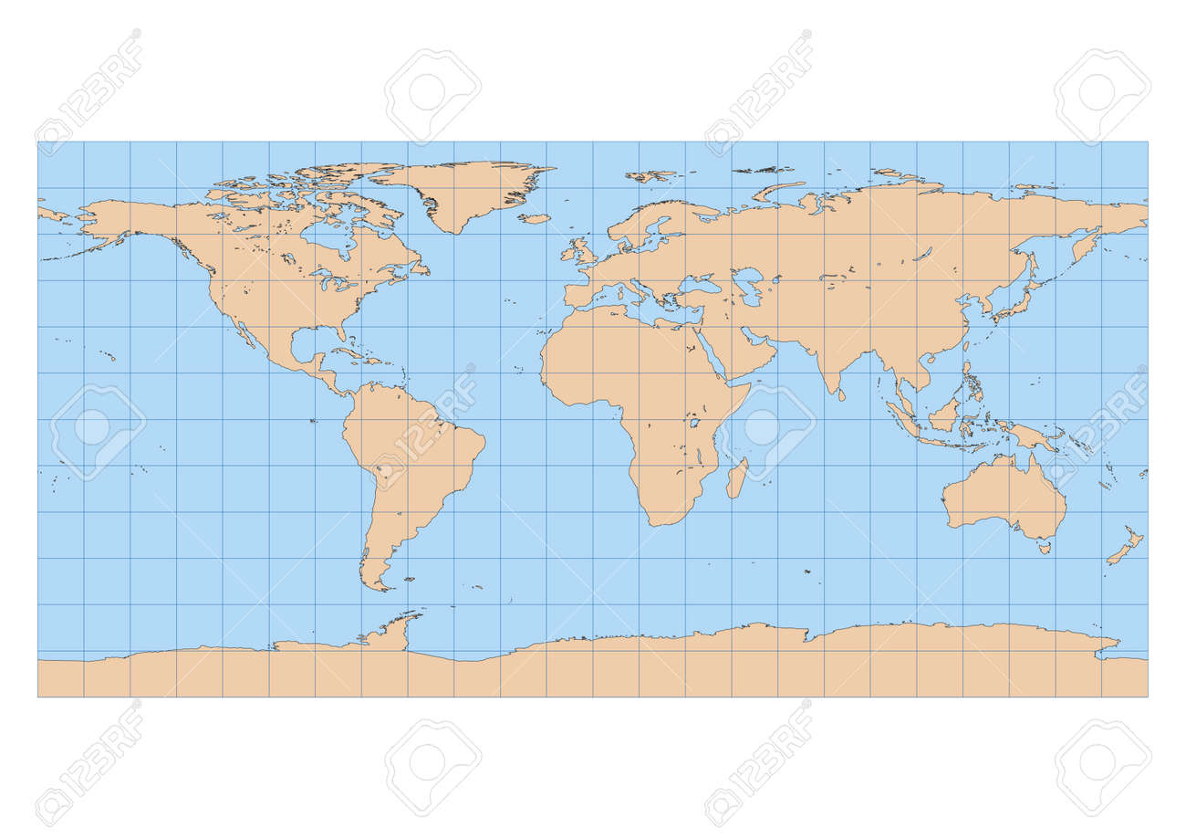 Very high detailed map of the world in equirectangular projection vector very high detailed map of the world in equirectangular projection with graticule centered in europe and africa gumiabroncs Gallery