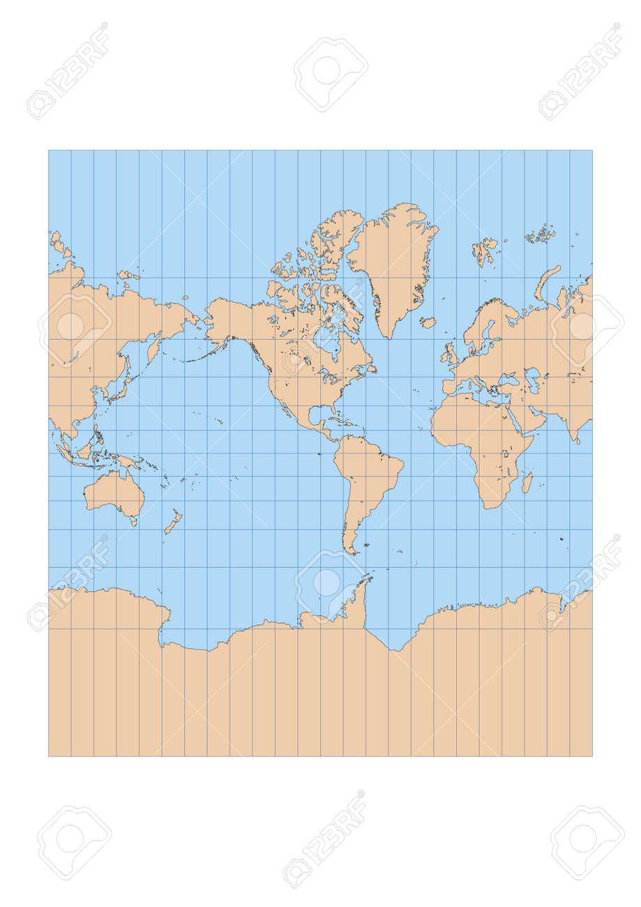 Very high detailed map of the world in mercator projection with very high detailed map of the world in mercator projection with graticule centered in the american sciox Choice Image