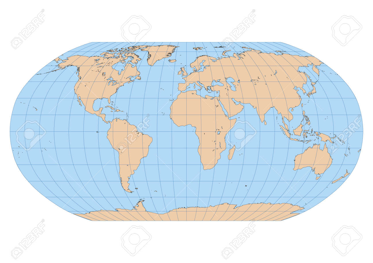Very high detailed map of the world in robinson projection with vector very high detailed map of the world in robinson projection with graticule centered in europe and africa gumiabroncs Gallery