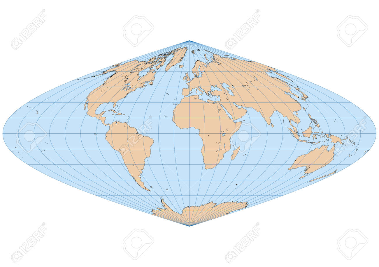 Very high detailed map of the world in Sinusoidal projection with graticule  Centered in Europe and Africa Stock Vector - 17689842