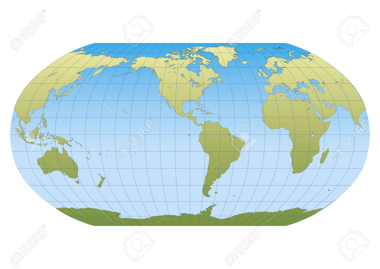 Map of the world in robinson projection with graticule centered map of the world in robinson projection with graticule centered in the american continent stock vector gumiabroncs Choice Image