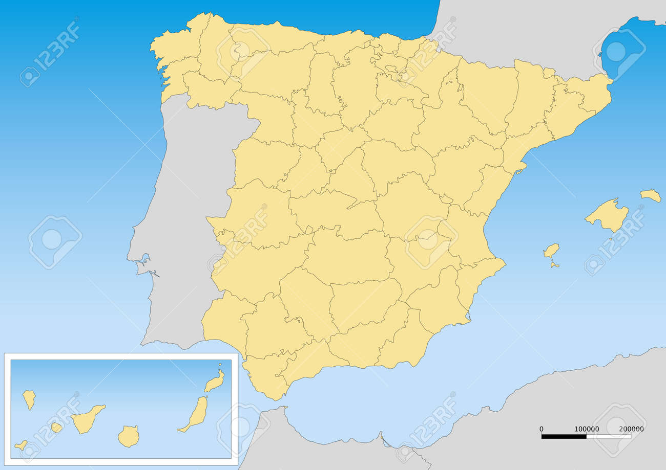 Map Of Spain With Provinces And Islands Scale 15000000 UTM