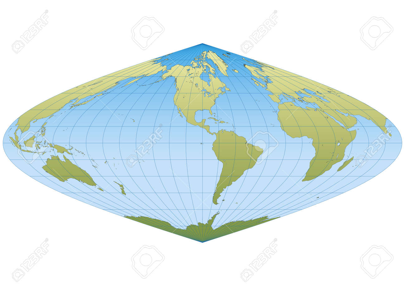 Map of the world in Sinusoidal projection with graticule. Centered in America Stock Vector - 18023849