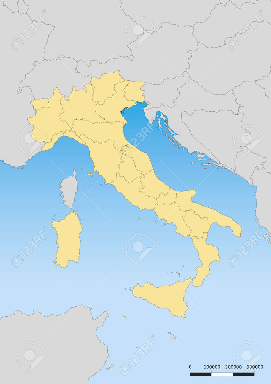 Map Of Italy And Islands.Map Of Italy With Islands Escale 1 6000000 Utm Projection