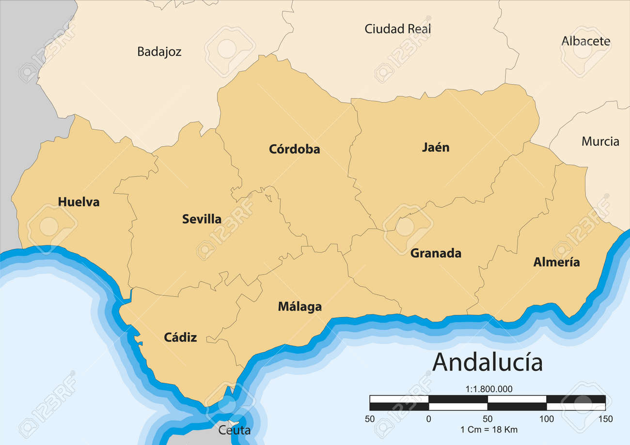 Map Of The Autonomous Community Of Andalusia Spain Royalty Free