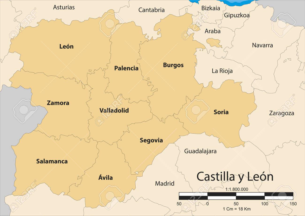 Map Of Spain Leon.Map Of The Autonomous Community Of Castile And Leon Castilla