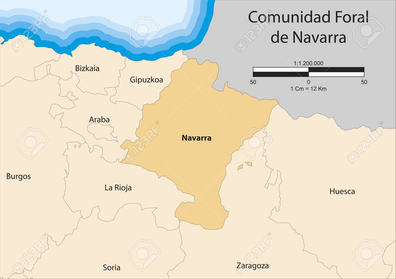Map Of Spain Navarra.Map Of Chartered Community Of Navarre Comunidad Foral De Navarra