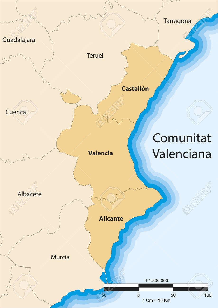 Carte De La Communaute De Valence Comunitat Valenciana Espagne Clip Art Libres De Droits Vecteurs Et Illustration Image 18649746