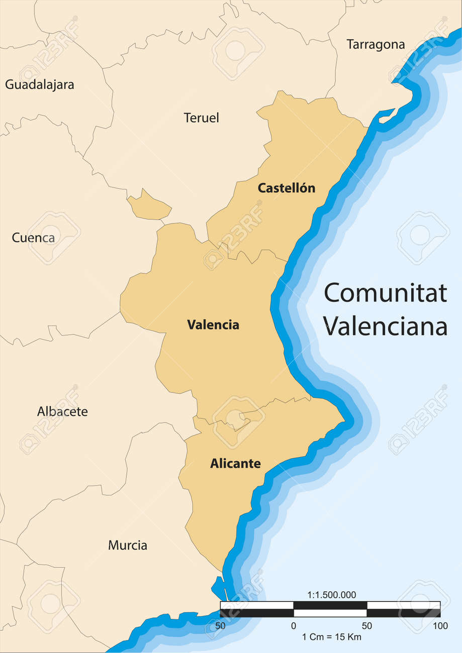 Map Of The Valencian Community Comunitat Valenciana Spain Royalty ...