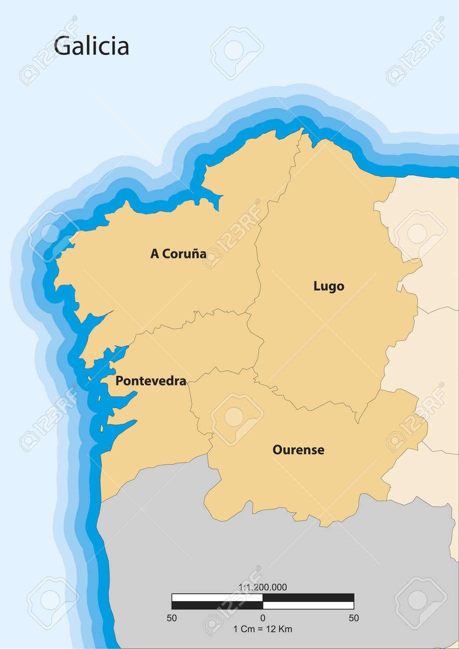 Cartina Spagna Galizia.Vettoriale Mappa Della Comunita Autonoma Spagnola Della Galizia Image 18649747