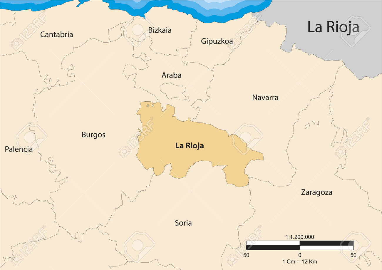 Map Of The Autonomous Community Of La Rioja Spain Royalty Free