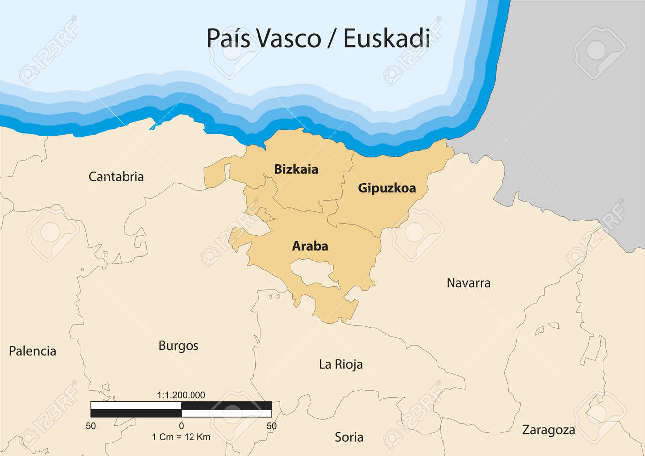 Mapa de la comunidad autónoma del País Vasco PAA,, s Vasco España