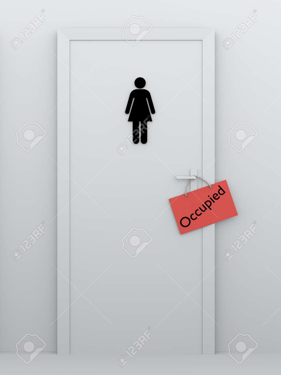 La Porte De La Salle De Bain Des Femmes Avec Un Signe Occup Dans La