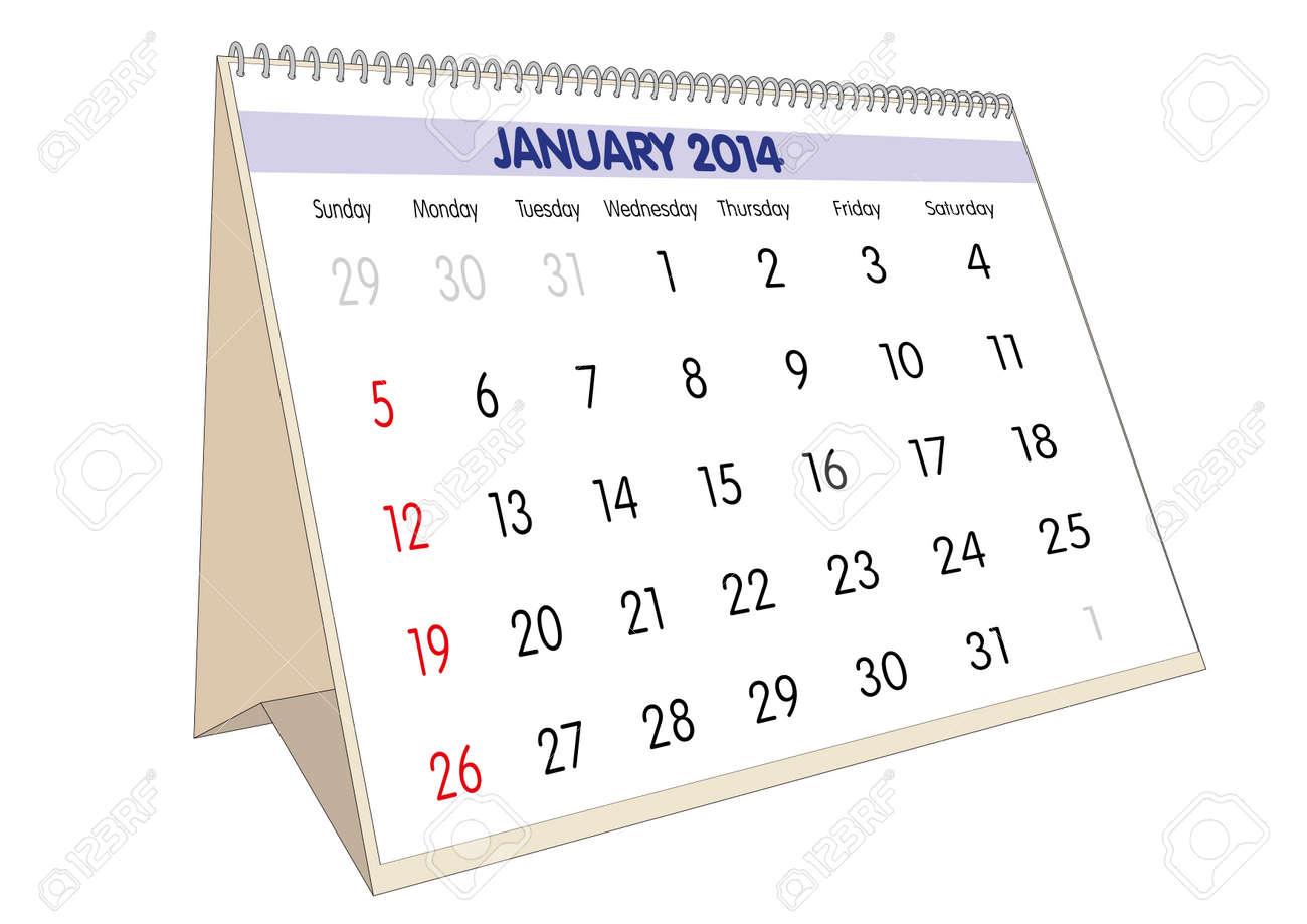January sheet in an english Calendar for 2014. Stock Photo - 23010509