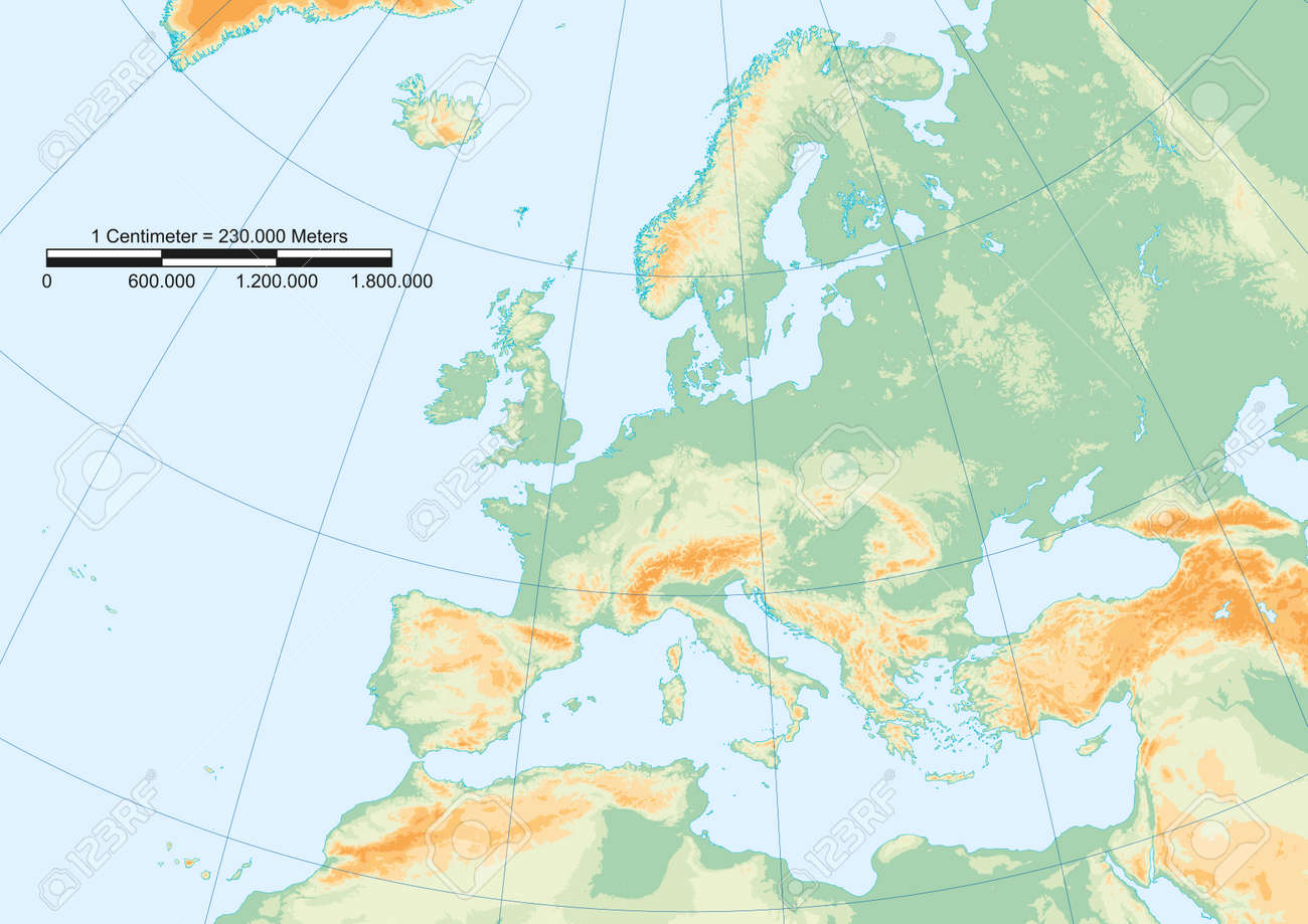 Map Of Europe With Scale.Physical Map Of Europe With Graticule And Graphic Scale Royalty Free