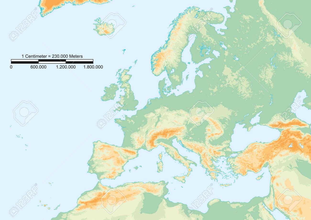 mapa europa com escala Mapa Físico De Europa Con Escala Gráfica Ilustraciones Vectoriales  mapa europa com escala