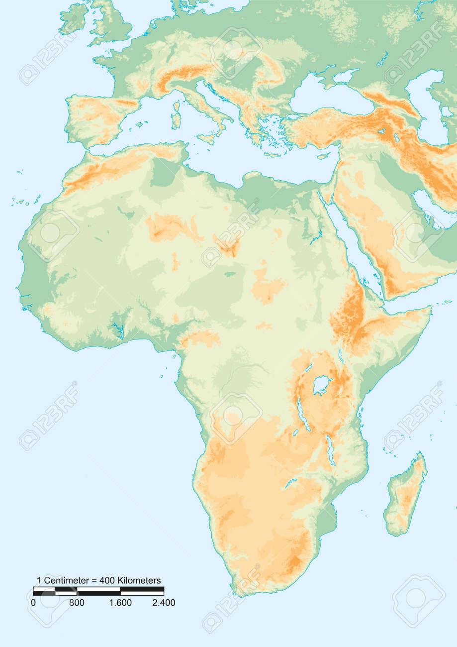 Carte Afrique Physique.Carte Physique De L Afrique Avec L Echelle Graphique