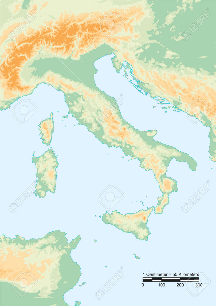 Physical Map Of Italy With A Graphical Scale Royalty Free Cliparts - Physical map of italy
