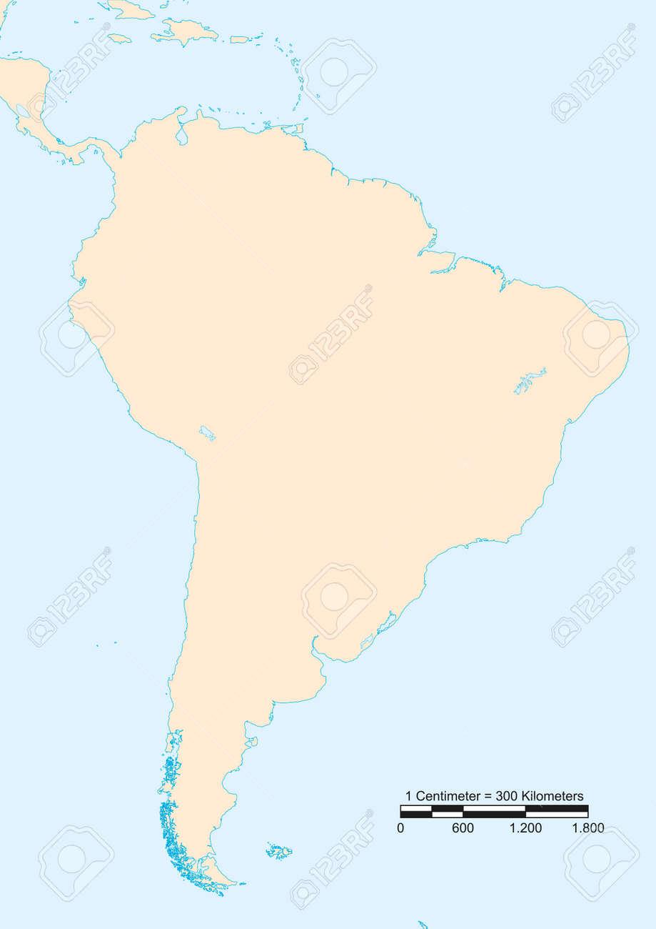 Une Carte De Lamerique Du Sud.Carte De L Amerique Du Sud Avec Une Echelle Graphique