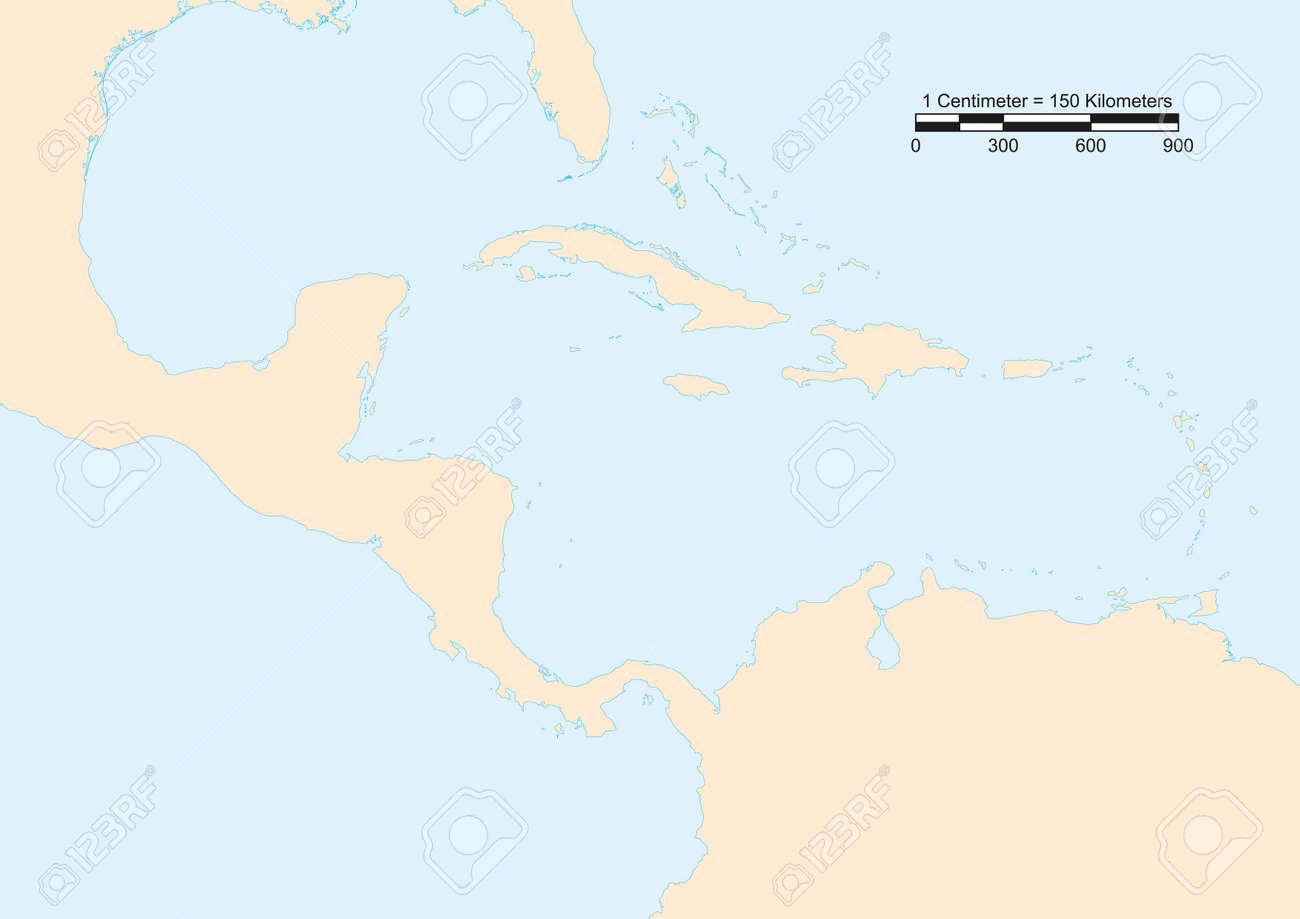 La Escala Del Mapa.Mapa De America Central Con La Escala Ilustraciones Vectoriales Clip Art Vectorizado Libre De Derechos Image 26431262