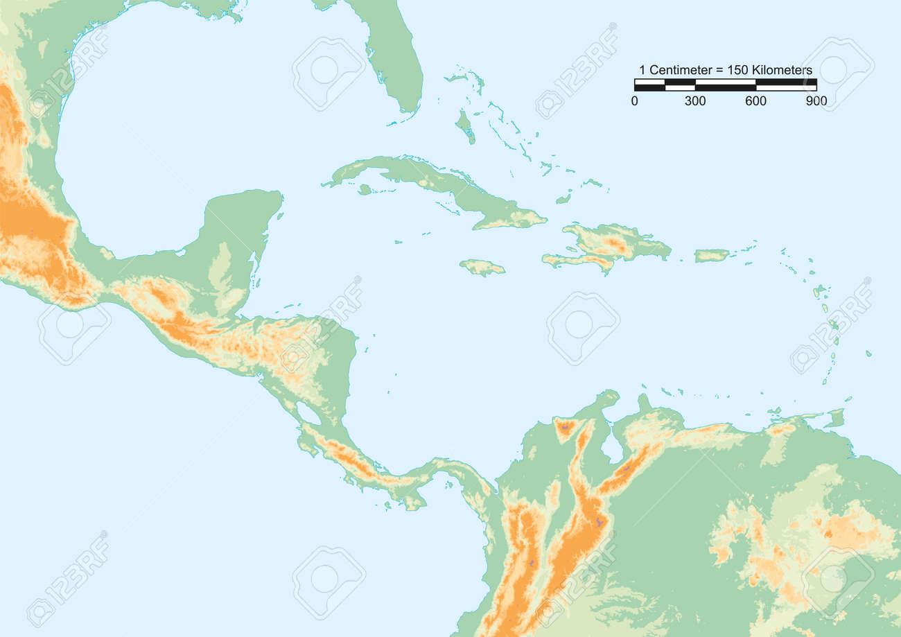 Physical map of Central America with scale.