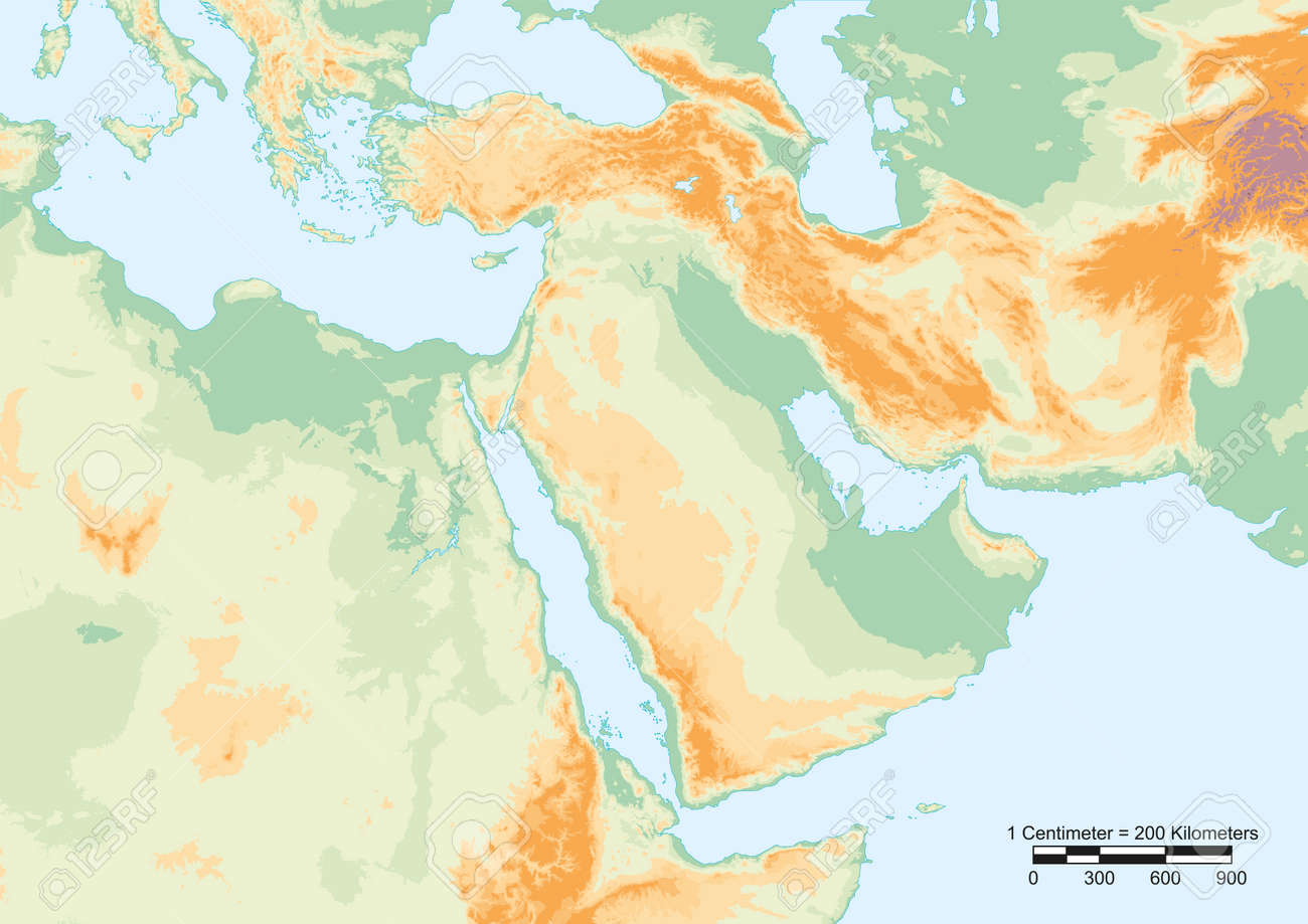 Physical map of Middle East with scale