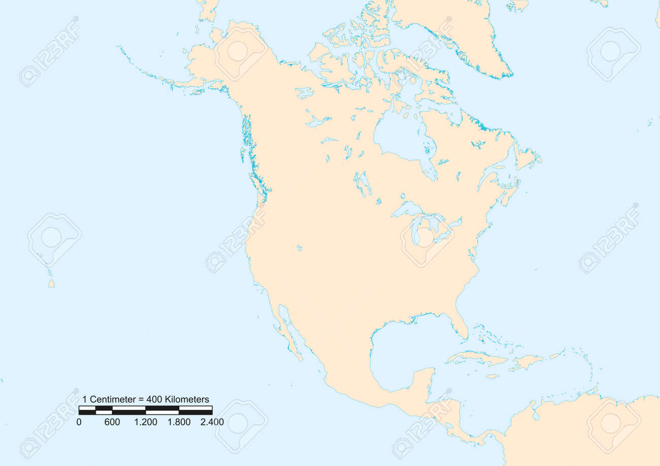Map of North America with scale. Elements of this image furnished..