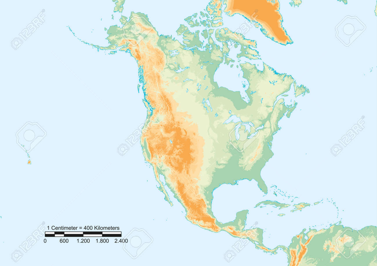 Physical map of North America with scale.