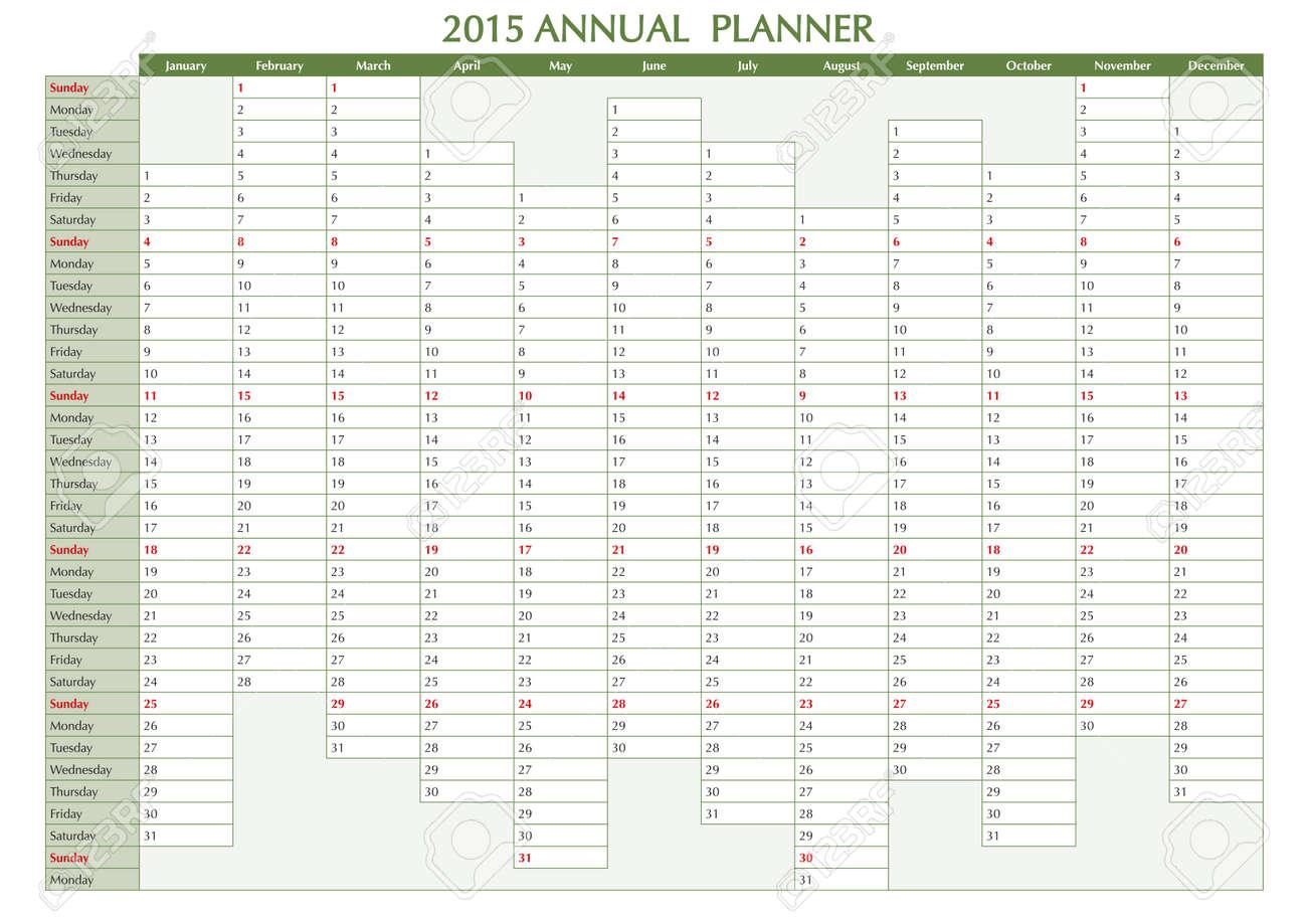 2015 Planificador Anual. Calendario De Inglés Para El Año 2015, La ...