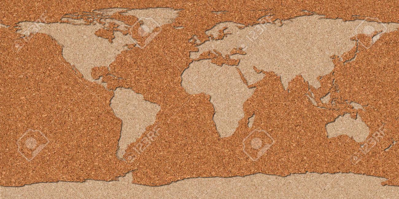 Mappa Del Mondo Fatto Con Una Tavola Di Sughero. Foto Royalty Free ...