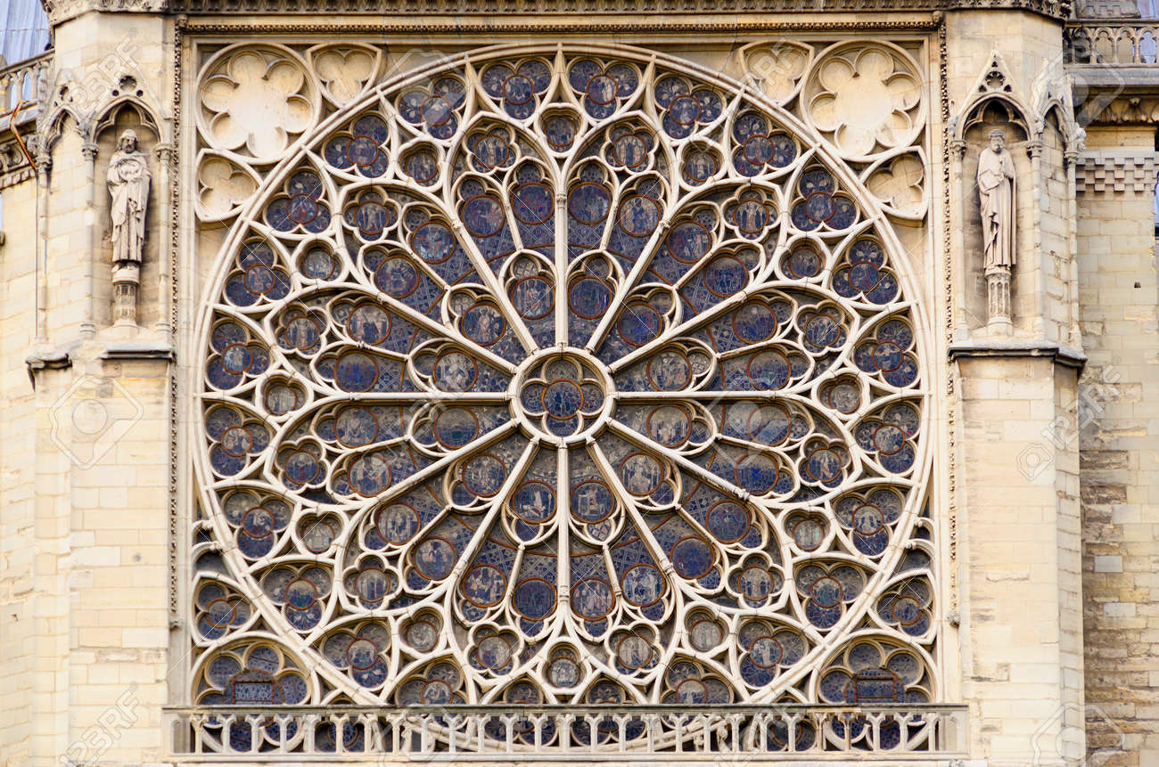 Rose Window In Notre Dame Cathedral Paris France Stock Photo